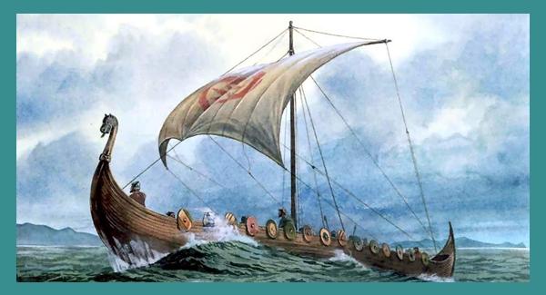 barco vikingo ilustración - Imagen